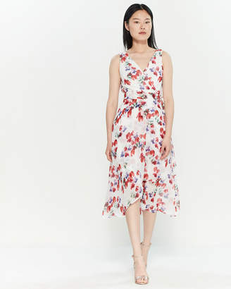 DKNY Floral Belted Handkerchief Dress