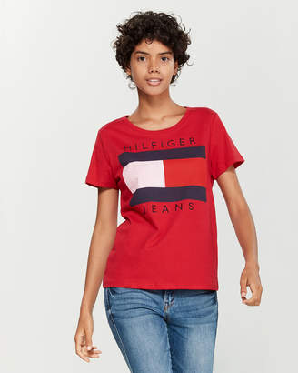 Tommy Hilfiger Embroidered Flag Logo Tee