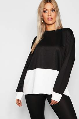 boohoo Plus Colour Block Oversized Sweater