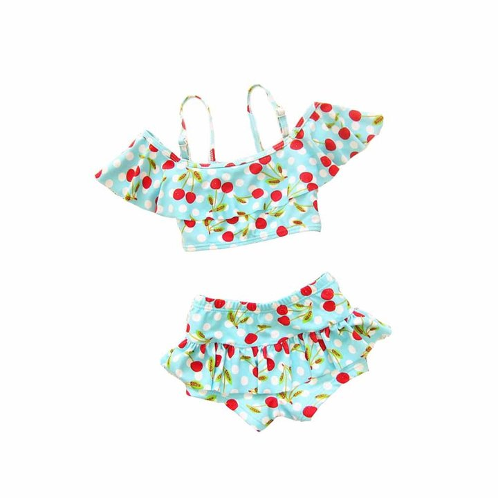 Surker Baby Girl Cute Swimsuits 2 Pieces Red Dot Skirt Swimwear Sets