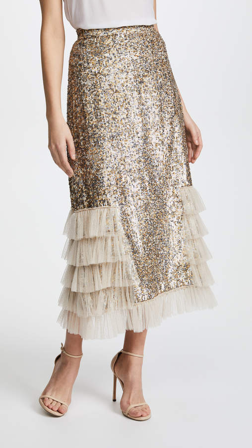 Metallic Sequin Ruffle Skirt