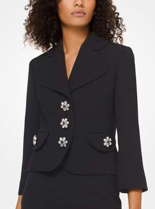 Michael Kors Wool-Crepe Broadcloth Cropped Jacket