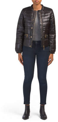 Juniors Solid Quilted Puffer Jacket