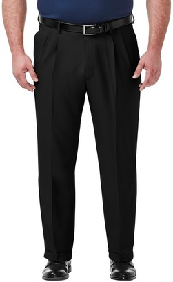 Haggar Big & Tall Premium Comfort Expandable-Waist Classic-Fit Stretch Pleated Dress Pants