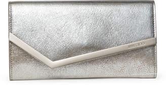Jimmy Choo Emmie gold leather clutch