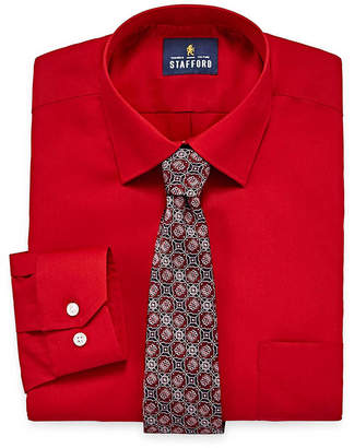 STAFFORD Stafford Travel Easy-Care Shirt + Tie Set- Big And Tall