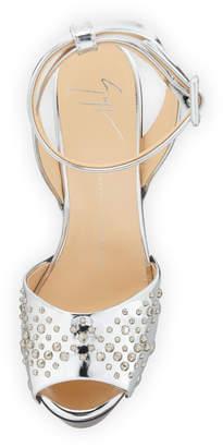 Giuseppe Zanotti Studded Metallic Leather Platform Sandals