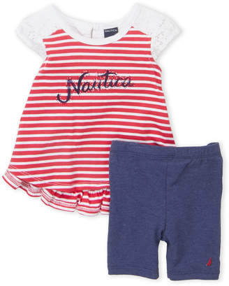Nautica Infant Girls) Two-Piece Striped Ruffle Trim Top & Shorts Set