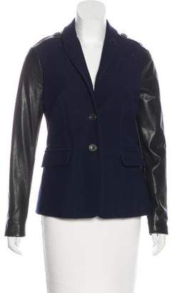 Burberry Leather-Trimmed Button-Up Jacket
