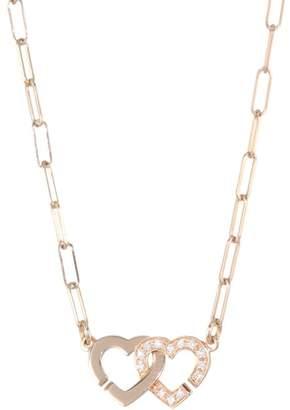 Dinh Van Double Coeurs Diamond &18K Rose Gold Chain Necklace