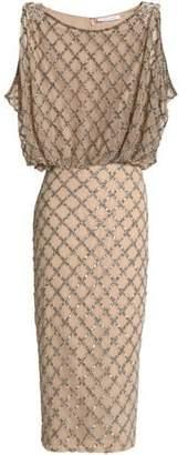 Rachel Gilbert Draped Embellished Tulle Dress