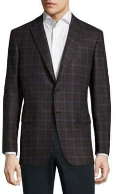Brioni Windowpane Textured Wool Sportcoat