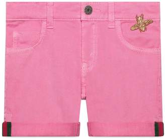 Gucci Pink Denim Cuffed Shorts
