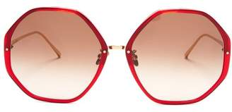 Linda Farrow Oversized Hexagonal Frame Sunglasses - Womens - Dark Red