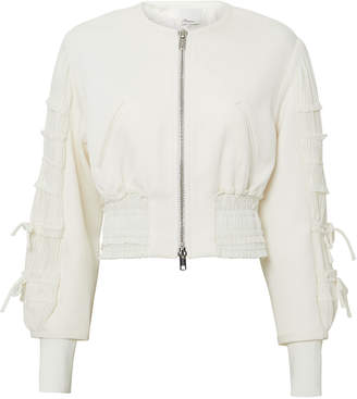 3.1 Phillip Lim Gathered-Sleeve Smocked Bomber Jacket