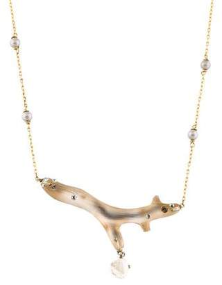 Alexis Bittar Pearl, Crystal & Lucite Branch Pendant Necklace