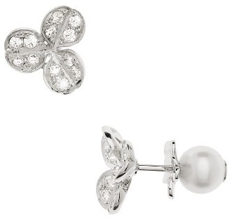 Women's Mikimoto Pearl & Diamond Front/back Earrings $3,300 thestylecure.com