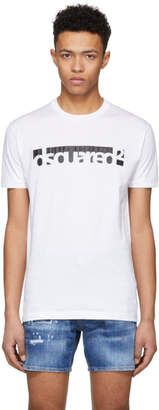 DSQUARED2 White Crack Logo Chic Dan T-Shirt