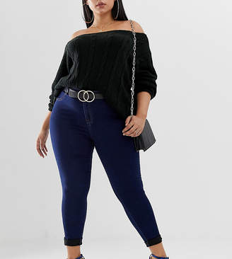 Missguided Plus exclusive plus high waisted skinny jeans in dark blue