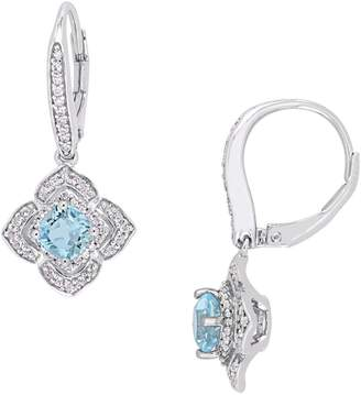 Mystique Concerto Silver Sterling Silver Square Halo Dangle Earrings with Blue and White Topaz, and 0.25 CT. T.W. Diamonds