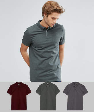 Asos DESIGN pique polo with button down collar 3 pack save