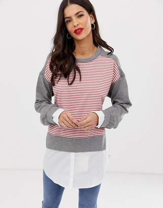 French Connection Kapiti stripe jumper with shirt underlay