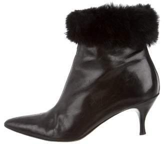Donald J Pliner Fur-Trimmed Ankle Boots