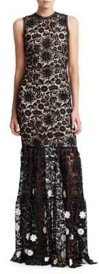 Theia Sleeveless Lace Gown