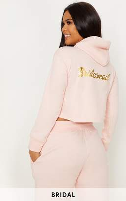 PrettyLittleThing Blush Bridesmaid Slogan Cropped Hoodie