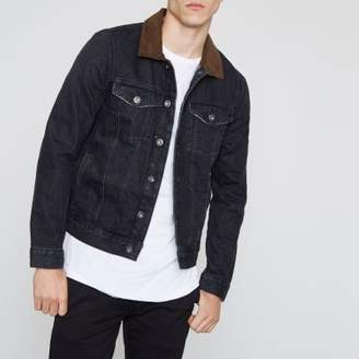River Island Black denim faux suede collar jacket