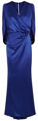 Talbot Runhof Cobalt Draped Satin Cape Gown