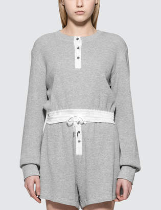Alexander Wang Heavy Waffle Cropped L/S T-Shirt