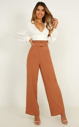 Showpo Snowbird Pants In camel - 4 (XXS) Wide Leg Pants