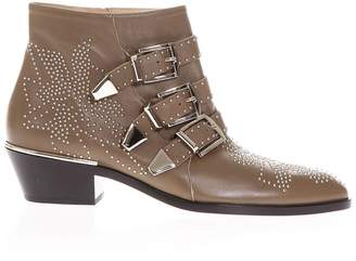 Chloé Brown Studded & Buckled Boots In Leather