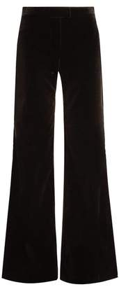 Goat Countess Wide Leg Stretch Cotton Velvet Trousers - Womens - Black
