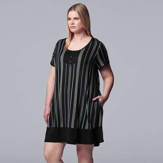 Vera Wang Women's Plus Size Simply Vera Short Sleeve Sleepshirt