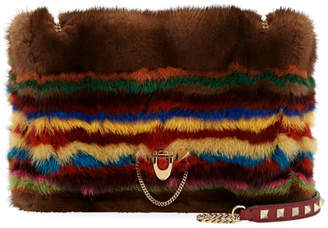Demilune Striped Mink Fur Shoulder Bag