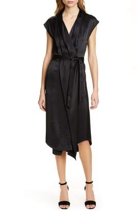 Frame Ibiza Silk Satin Midi Wrap Dress