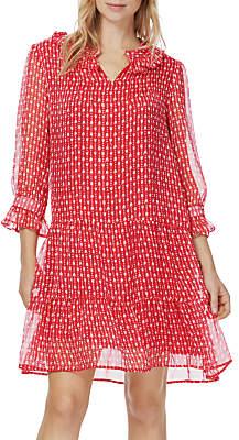Brora Tulip Print Silk Chiffon Tiered Dress, Crimson/Multi