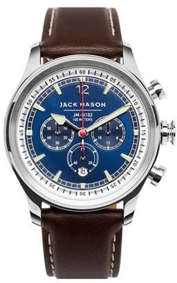Men's Jack Mason Nautical Chronograph Leather Strap Watch, 42Mm $275 thestylecure.com