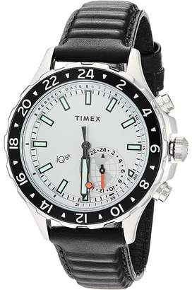 Timex IQ+ Move Multi Time Leather Strap Watches