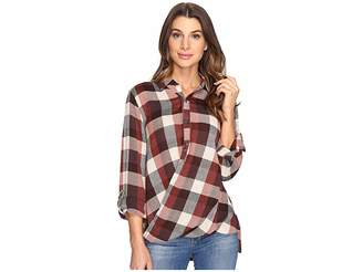 Blank NYC Multi Plaid Drape Front Shirt in Whiskey Brown Women's T Shirt