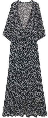 Ganni Fluted Floral-Print Crepe De Chine Maxi Dress