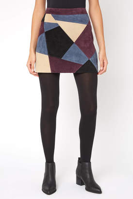 Bagatelle Patchwork Suede Mini Skirt