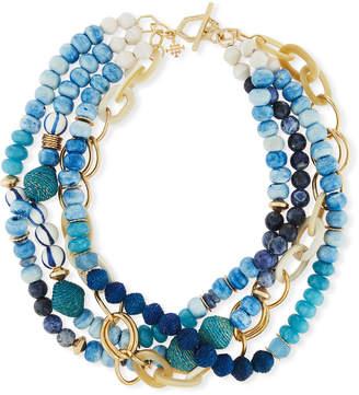 "Neiman Marcus Akola Twisted Multi-Strand Necklace, Blue, 22"""