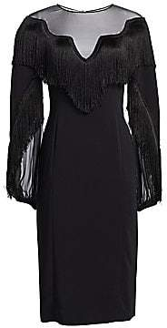 Alberta Ferretti Women's Long Sleeve Fringe Dress