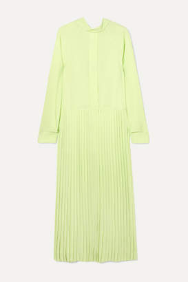 Cédric Charlier Pleated Crepe De Chine Maxi Dress - Light green