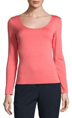 Armani Collezioni Long-Sleeve Scoop-Neck Tee, Matisse Red $375 thestylecure.com