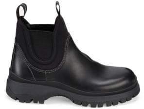 Prada Women's Lug Sole Chelsea Boots - Black - Size 35 (5)