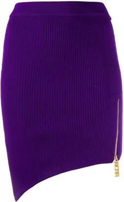 GCDS asymmetric zip detail skirt